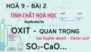 Một số Oxit quan trọng, Canxi oxit CaO, Lưu huỳnh dioxit SO2 và bài tập - hoá 9 bài 2